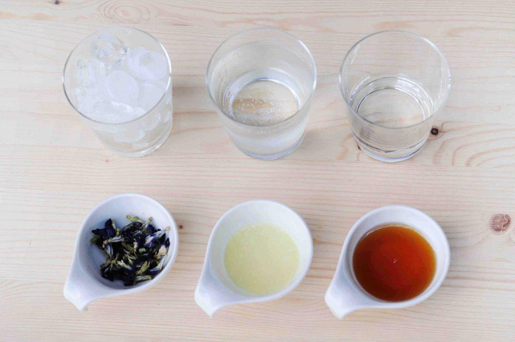 蝶豆花蜂蜜檸檬氣泡水材料
