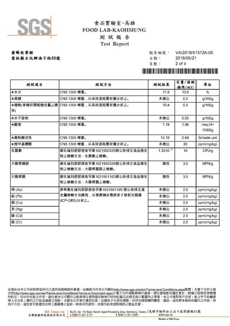 蜂蜜檢驗報告02